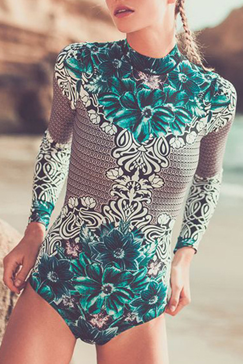 Lovely Sexy Round Neck Printed Green Polyester One-piece Swimwears
