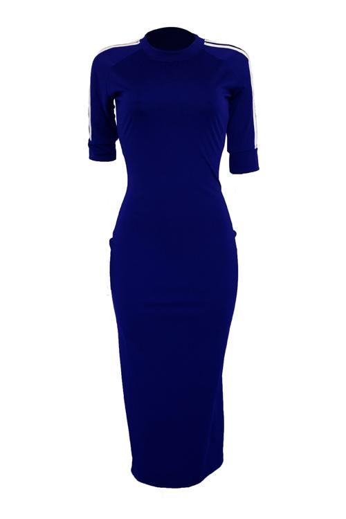 Encantador Y Sexy Cuello Redondo Con Rayas Ejército Azul Profundo Funda De Poliéster Vestido A Media Pierna