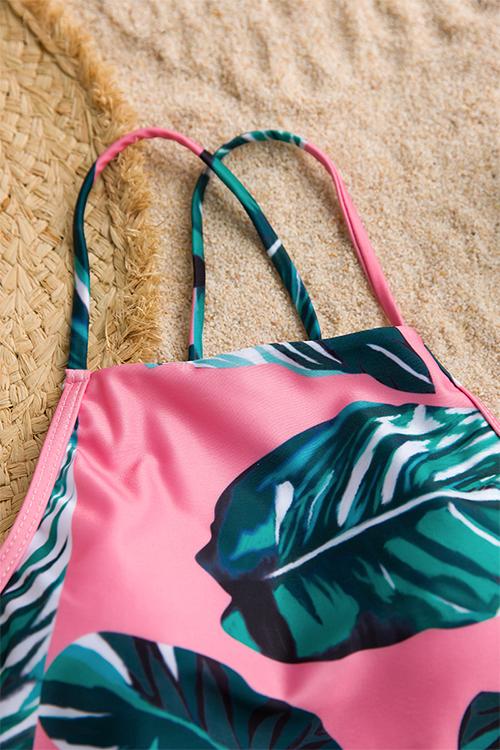 Reizender Hübscher Spitze-oben Druckte Rosa Polyester-einteilige Swimwears