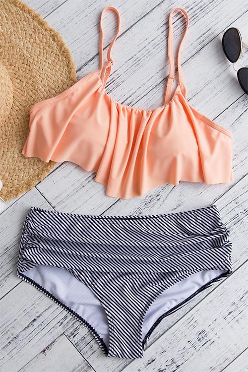 Adorável Sexy Falbala Design Listrado De Poliéster Rosa De Duas Peças Swimwears