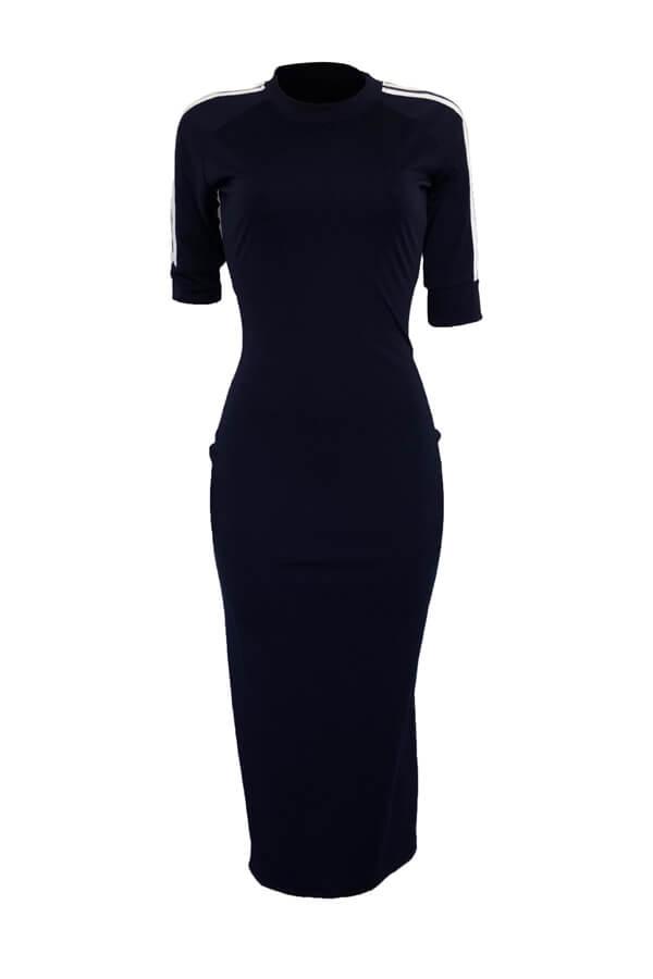 Lovely Sexy Round Neck Striped Dark Blue Polyester Sheath Mid Calf Dress