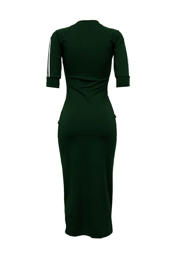 LovelySexy Round Neck Striped Army Green Polyester Sheath Mid Calf Dress