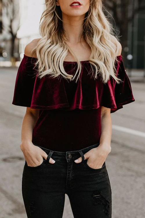 Lovely Fashion Bateau Neck Falbala Design Wine Red Polyester One-piece Bodysuits