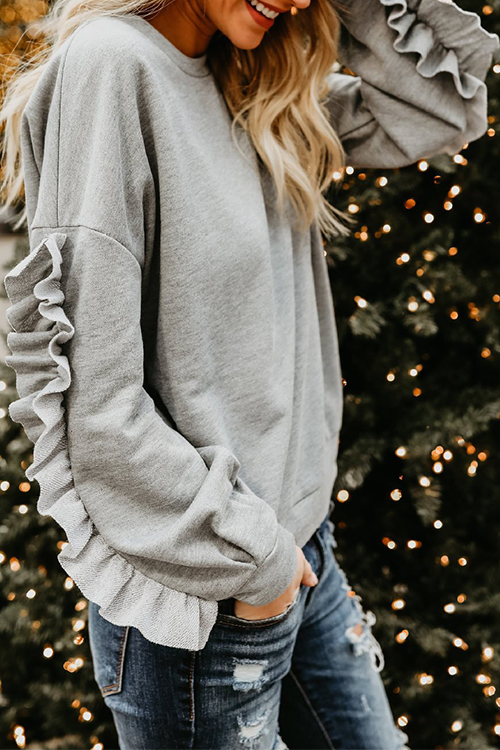 Lovely Casual Round Neck Long Sleeves Ruffle Design Grey Blending Hoodies