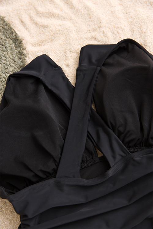 Trajes De Baño De Una Sola Pieza Del Poliester Negro Del Diseño Del Doblez Precioso De La Manera