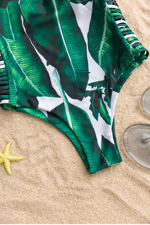 La Moda Preciosa Ahueca Hacia Fuera Las Hojas Imprimió El Traje De Baño De Una Pieza Verde Del Poliéster
