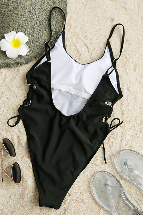 Lovely Sexy Lace-up Backless Black Polyester One-piece Swimwears