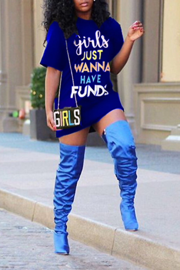 Cuello Redondo Encantador Casual Letras Mini Vestido Estampado De Poliéster Azul Profundo