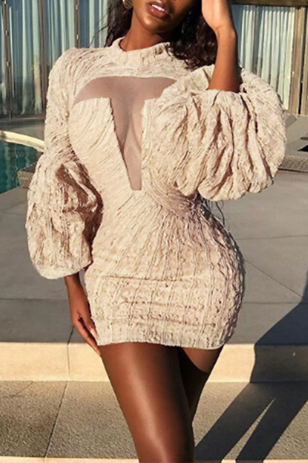 Lovely Sexy Round Neck Puff Sleeves Chest See-Through Apricot Polyester Sheath Mini Dress Dresses <br><br>