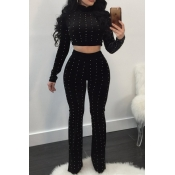 Fashion Turtleneck Beads Decoration Black Velvet Two-Piece Pants Set