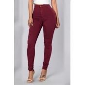Euramerican High Waist Zipper Design Vinho Red Denim Pants