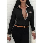 Fashion Turndown Collar Patchwork Single Breasted