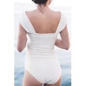 Adorável Sexy Bateau Neck Fold Design Branco Spandex De Uma Peça De Banho