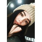 LovelyFashion Maomao Ball Decorative Beige Wool Hat