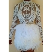 Lovely Sexy Mandarin Collar Feather Decoration Embroidery Design White Polyester Two-piece Skirt Set(Without Belt)
