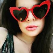 Linda Moda Em Forma De Coração Design De Moldura Vermelho Óculos De Sol Para PC