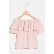 Lovely Trendy Bateau Neck Falbala Design Pink Chif