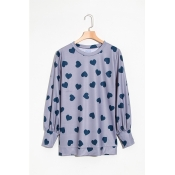 Lovely Fashion Round Neck Heart-shaped Printed Gre