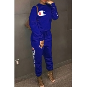 LovelyLeisure Round Neck Letters Printed Royalblue Cotton Blends One-piece Jumpsuits