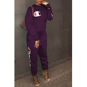 LovelyLeisure Round Neck Letters Printed Deep Purple Cotton Blends One-piece Jumpsuits