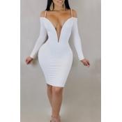 Прекрасное Сексуальное Глубокое V Плечо Плеча Плеча Белого Молока Платье Длиной До Колена