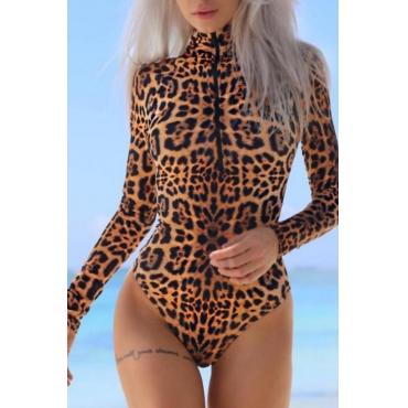 Sexy Turtleneck Zipper Design Leopard Polyester One-piece Bodysuits