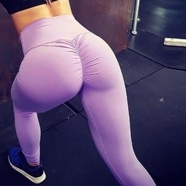 Fashion High Waist Fold Design Purple Blending Leggings