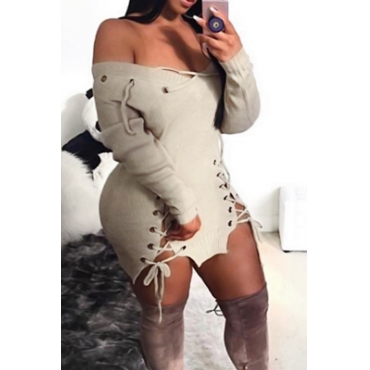 Lovely Sexy V Neck Eyelets Design Lace-up Khaki  Mini Dress