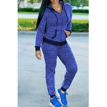 Lovely Casual Hooded Collar Zipper Design Blue Knitting Two-piece Pants Set
