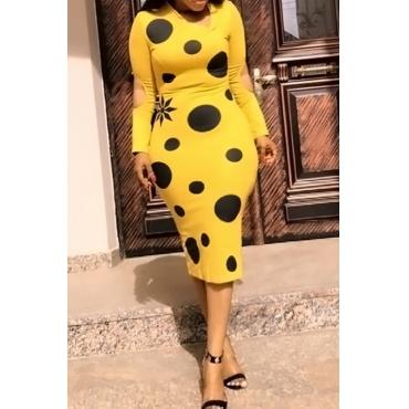 Lovely Fashion V Neck Broken Holes Dot Printed Yellow Cotton Blend Mid Calf Dress