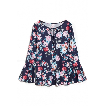 Lovely Trendy V Neck Trumpet Sleeves Floral Printed Deep Blue Polyester Shirts