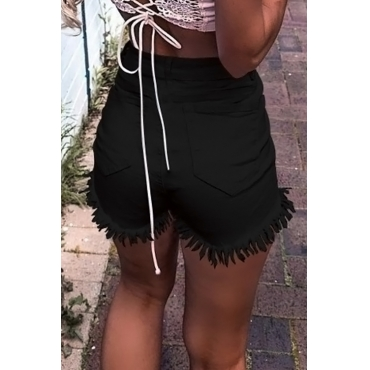 Lovely Fashion High Waist Tassel Fringed Button Design Black Denim Shorts