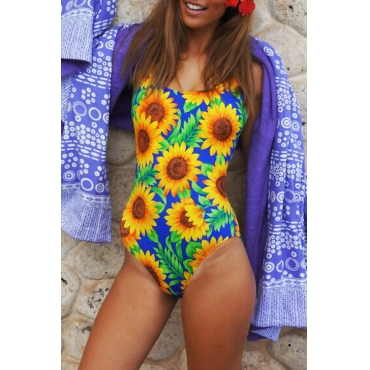 Lovely Sexy Square Collar Floral Printed Polyester One-piece Swimwears(Non Positioning Printing)