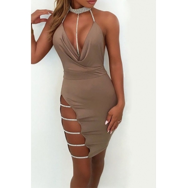 Lovely Sexy Mandarin Collar Hollow-out Khaki Cotton Sheath Mini Bodycon Dress