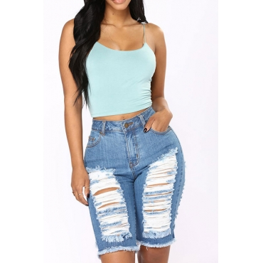Lovely Fashion Mid Waist Broken Holes Light Blue Denim Zipped Shorts
