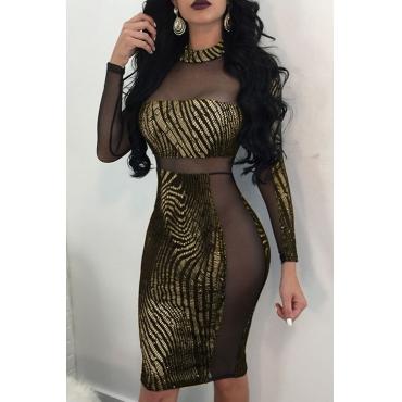 Lovely Sexy Mandarin Collar See-Through Gilding Design Gold Healthy Fabric Sheath Knee Length Dress