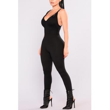 Reizvolle Art Und Weise V-Ausschnitt Rückenfreie Schwarze Polyester Einteilige Overalls