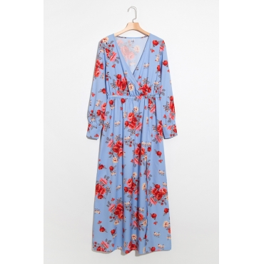 Lovely Fashion V Neck Floral Printed Side Slit Blue Polyester Maxi Dress