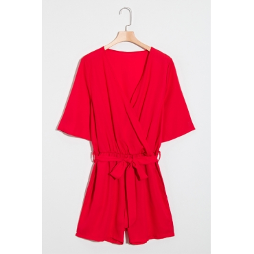 Lovely Fashion V Neck Short Sleeves Red Chiffon One-piece Short Jumpsuits(With Belt)