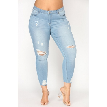 Lovely Fashion High Waist Broken Holes Light Blue Denim Zipped Jeans