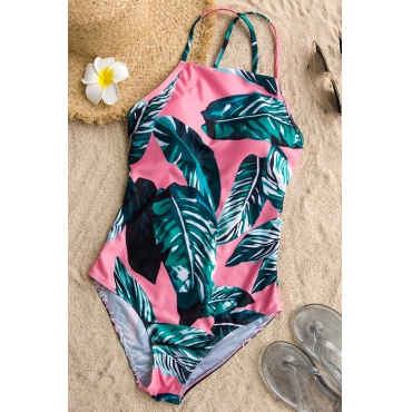Lovely Pretty Lace-up Printed Pink Polyester One-piece Swimwears