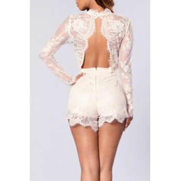 Lovely Sexy Round Neck See-Through Pink Polyester One-piece Short Jumpsuits