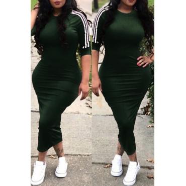 Lovelysexy Em Torno Do Pescoço Listrado Bainha De Poliéster Verde Exército Meados De Bezerro Vestido