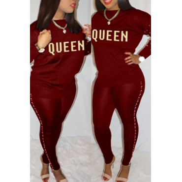 Lovely Casual Round Neck Gilt Letters Pearl Trim Wine Red Cotton Two-Piece Pants Set