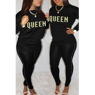 Lovely Casual Round Neck Gilt Letters Pearl Trim Black Cotton Two-Piece Pants Set