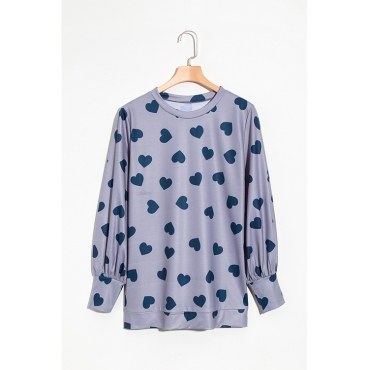 Lovely Fashion Round Neck Heart-shaped Printed Grey Blending T-shirt