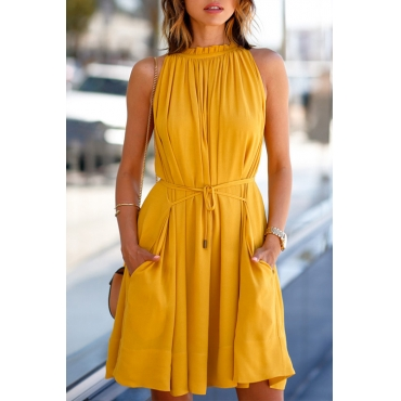 Lovely Casual Round Neck Belted Yellow Blending Mini Pleated Dress