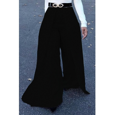 Lovely Trendy Elastic High Waist Black Polyester Pants(Without Belt)
