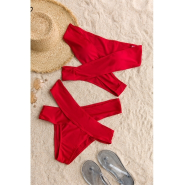 Lovely Sexy Cut-out Red Polyester Two-piece Swimwears