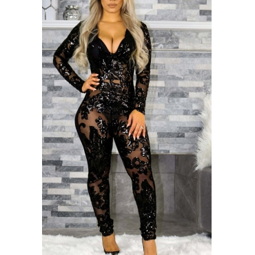 Lovely Sexy V Neck See-Through Sequins Decoration Black Polyester One-piece Jumpsuits